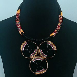 3 circle colorful handcrafted beaded pendant neckl